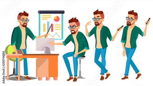 In de dag Kinderkamer Business Man Character Vector. Hipster Working Male. Environment Process. Start Up. Casual Clothes. Worker. Full Length. Programmer, Manager. Expressions. Flat Business Character Illustration