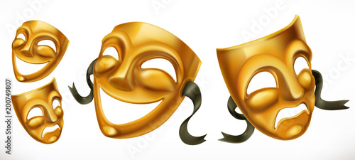 Poster Hoogte schaal Gold theatrical masks. Comedy and tragedy 3d vector icon