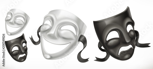 Fotografie, Obraz  Theatrical masks. Comedy and tragedy 3d vector icon