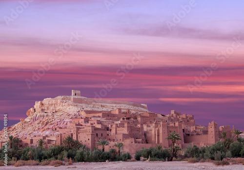 Poster Maroc Ait Benhaddou Casbah at sunsert near Ouarzazate city in Morocco, Africa