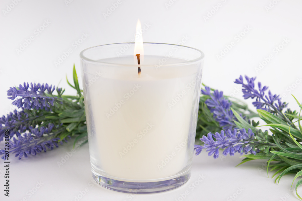 Fototapety, obrazy: Candle in glass on white background with lavender, product mock-up