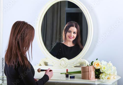 b40c6bbcb91 Portrait of beautiful young smiling brunette woman