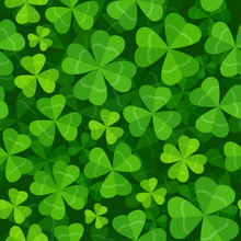 Seamless Pattern With Clover Three And Four Leaves