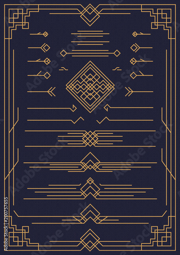 art deco and arabic design elements gold color isolated on background for pattern, menu, textile, poster, promotion, decoration, wedding invitation, greeting card. 10 eps