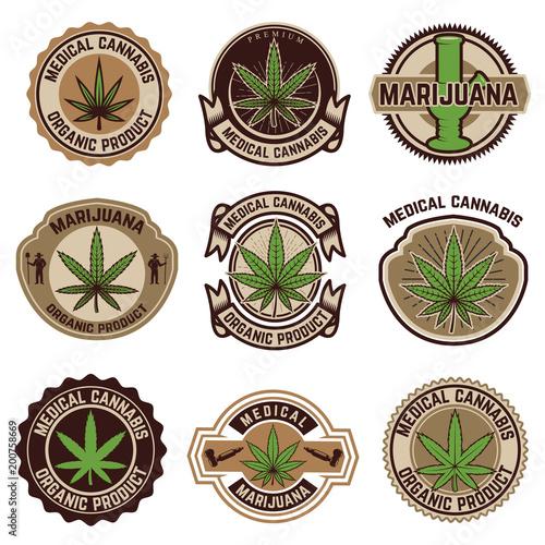 Photo  Set of vintage emblems with medical marijuana