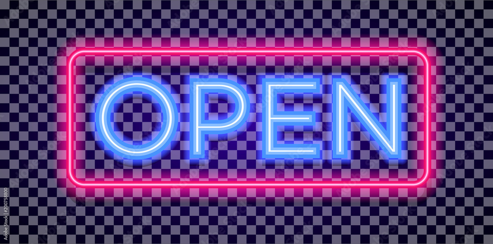 Fototapeta Vector neon open sign light style with colorful red frame on transparent background for shop, cafe, restaurant, banner, promotion, poster party. Bright signboard. 10 eps