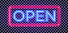 Vector Neon Open Sign Light St...