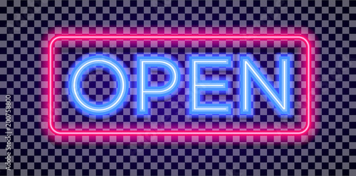 Fotografie, Obraz  Vector neon open sign light style with colorful red frame on transparent background for shop, cafe, restaurant, banner, promotion, poster party