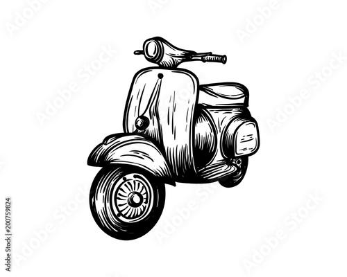 Vespa Motorcycles Hand Drawing Symbol Vintage Logo Vector - Buy this