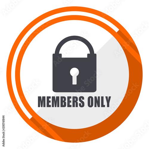 Fotografía  Members only flat design orange round vector icon in eps 10