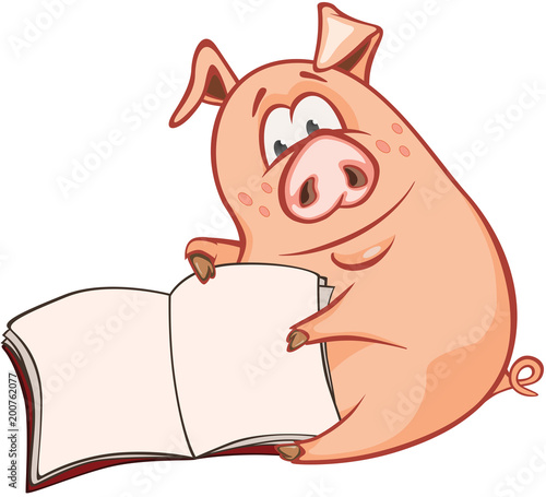 Deurstickers Babykamer Illustration of a Cute Pig. Cartoon Character