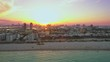 Purple sunset Miami Beach aerial footage