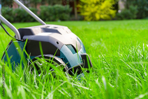 Fotografie, Tablou Scarifier on green grass. Work in the garden. scarifier