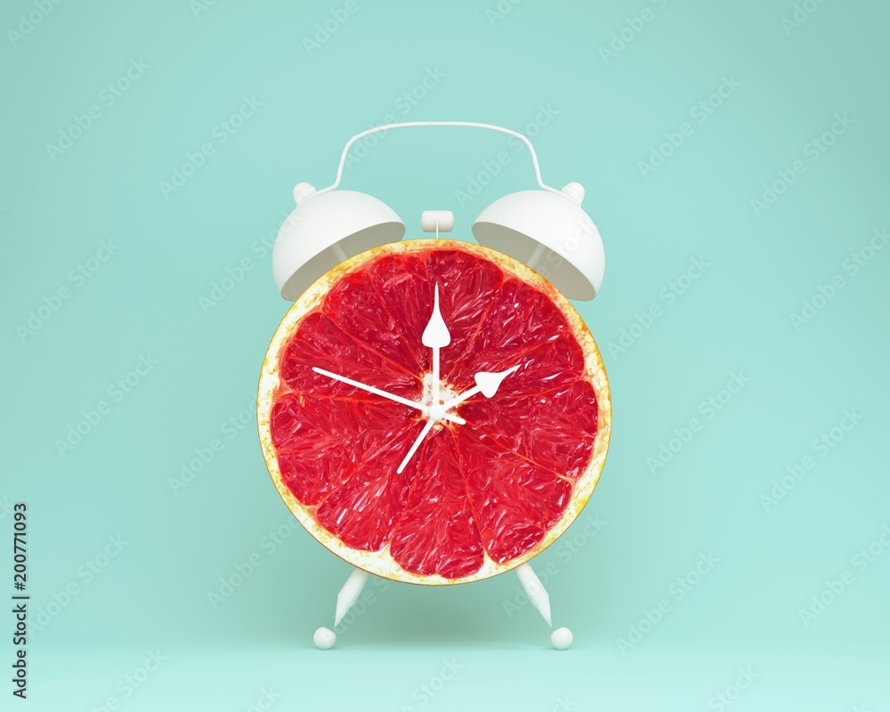 Fototapety, obrazy: Creative idea layout fresh grapefruit slice alarm clock on pastel blue background. minimal idea business concept. fruit idea creative to produce work within an advertising marketing communications