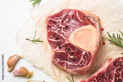 Papiers peints Jardin Raw beef steak osso bucco. Marble meat.