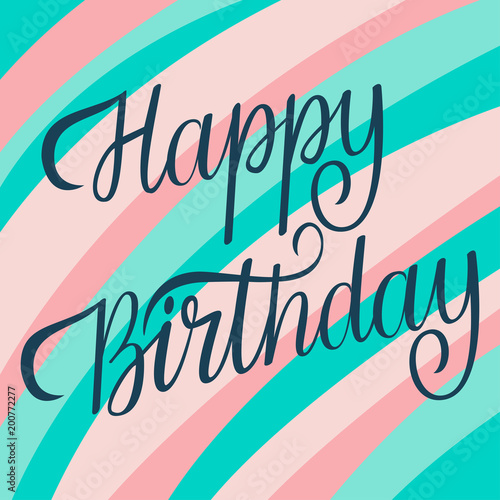 Photo  Happy Birthday Lettering Card Template