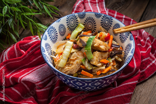 Bowl of fried chicken with vegetables.