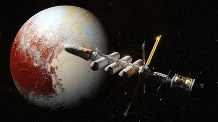spaceship in orbit of dwarf planet Pluto