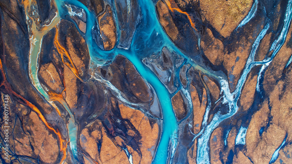 Fototapeta Aerial view and top view river in Iceland. Beautiful natural backdrop.