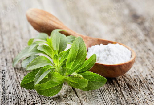 La pose en embrasure Condiment Stevia plant with powder