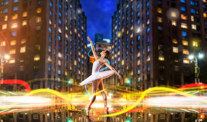 Fototapeta Taniec / Balet Classical ballet dancer dancing on city road