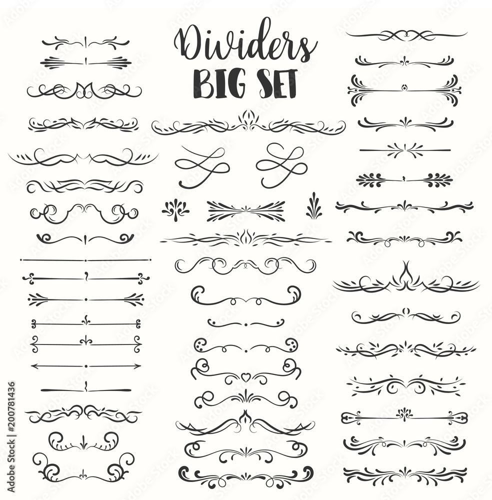 Fototapety, obrazy: Decorative flourishes. Hand drawn dividers. Vector swirls and decorations Ornate elements