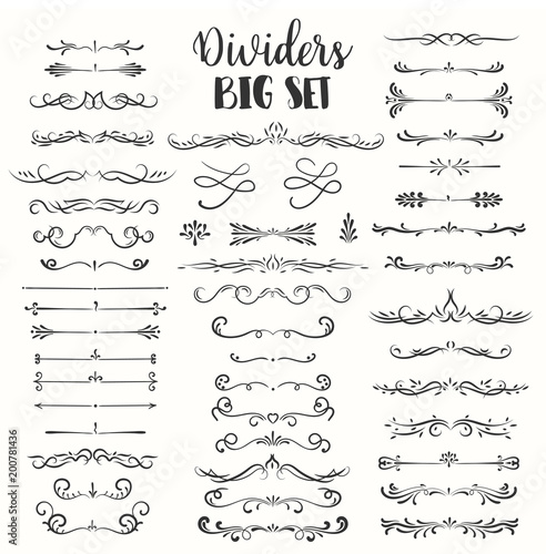 Decorative flourishes. Hand drawn dividers. Vector swirls and decorations Ornate elements Wall mural