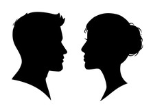 Man And Woman Silhouette Face ...
