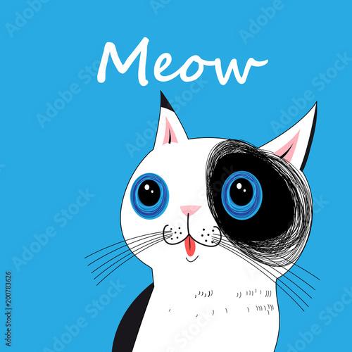Wektorowy portret śmieszny duży kot