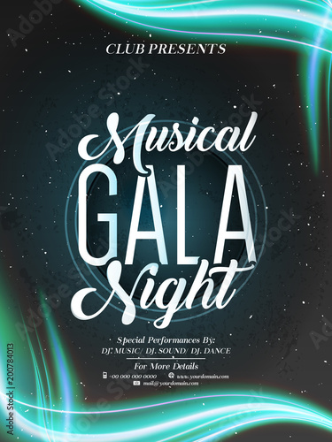 Nice And Beautiful Invitation Or Poster For Musical Gala Night With