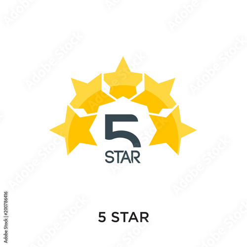 Obraz 5 star logo isolated on white background for your web, mobile and app design - fototapety do salonu