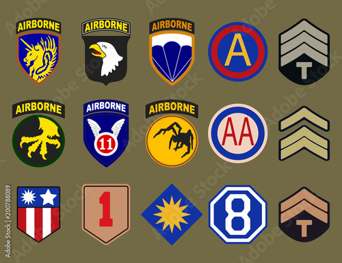Fotografie, Tablou  Airborne, air force and army patches