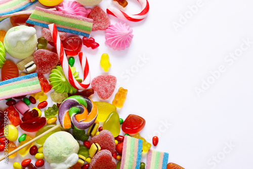 Foto op Plexiglas Snoepjes different marmalade sweet and colorful on white background