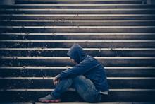 Portrait Of Asian Man Sad,drug Addict Man Sitting On The Floor,flakka Drug,zombie Drug