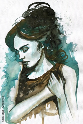Foto auf AluDibond Aquarelleffekt Inspiration Portrait of a beautiful and sensual woman.