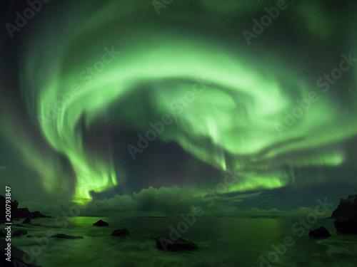 Keuken foto achterwand Noorderlicht Aurora borealis in Lofoten, Norway