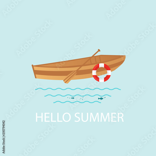 Photo Banner, poster, card with text Hello Summer and  nautical vehicles: sail boat,