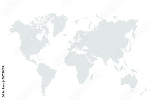 Grey World map vector isolated on white background. Flat Earth