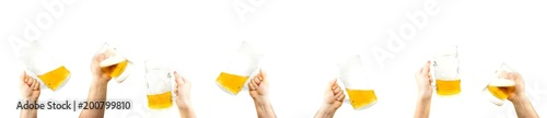 Papiers peints Biere, Cidre Bunch Of Hands Holding Mugs Of Beer Up At Party Giving A Cheers Isolated On White Background