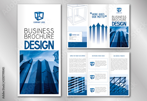 business trifold brochure template modern office buildings