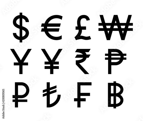 Popular Countries Currencies Symbols Black Isolated Currency Icons