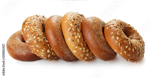 Foto op Canvas Brood pile of bagels isolated on white background
