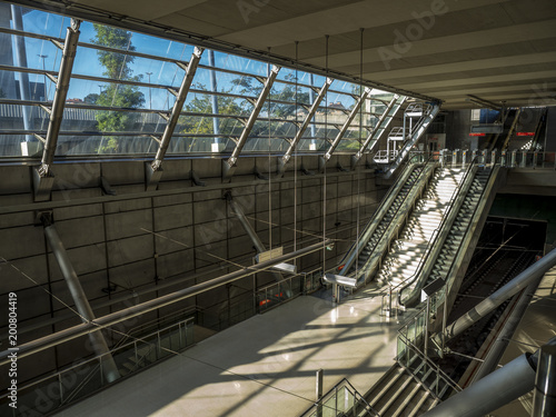 Bilbao, Basque Country, Spain, October, 08, 2017, station and access to the Bilbao Metro
