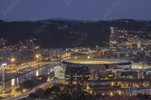 Fototapeta the city of Bilbao at night obraz na płótnie
