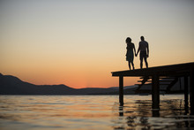 Silhouette Of Sensual Couple S...