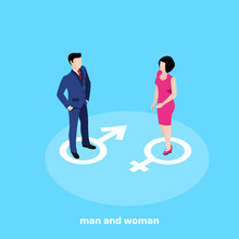 Man In Business Suit And Woman In Pink Dress On Blue Background, Isometric Image