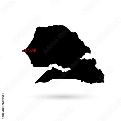 Plakat Map of a sinegal black capital on a white background.