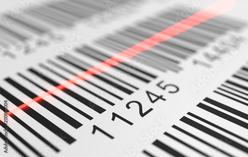Fotografía  Close-up view on red laser is scanning label with barcode on product