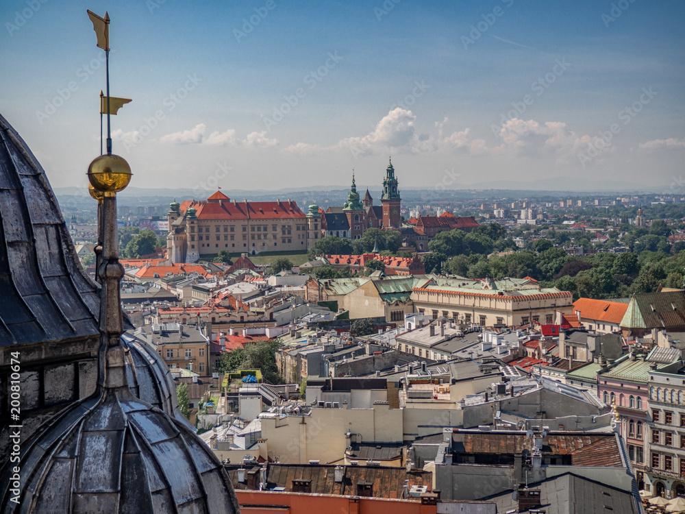 Obraz Aerial view of old city center in Krakow fototapeta, plakat