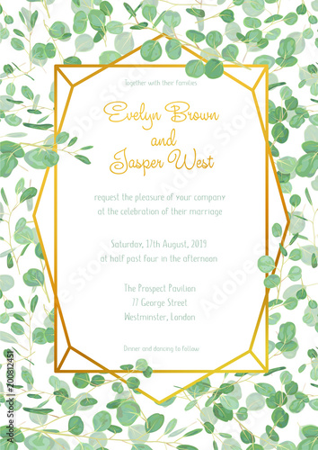 Festive Wedding Invitation Card With Evergreen Eucalyptus Green